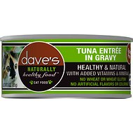 Dave's Pet Food Naturally Healthy Grain-Free Tuna Entree in Gravy Canned Cat Food, 3-oz, case of 24
