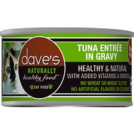 Dave's Pet Food Naturally Healthy Grain-Free Tuna Entree in Gravy Canned Cat Food, 5.5-oz, case of 24