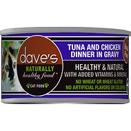 Dave's Pet Food Naturally Healthy Grain-Free Tuna & Chicken Dinner in Gravy Canned Cat Food, 3-oz, case of 24