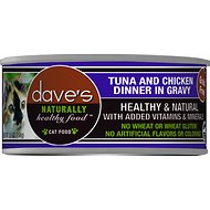 Dave's Pet Food Naturally Healthy Grain-Free Tuna & Chicken Dinner in Gravy Canned Cat Food, 5.5-oz, case of 24
