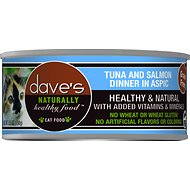 Dave's Pet Food Naturally Healthy Grain-Free Tuna & Salmon Dinner in Aspic Canned Cat Food, 5.5-oz, case of 24