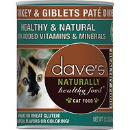 Dave's Pet Food Naturally Healthy Grain-Free Turkey & Giblets Dinner Canned Cat Food, 12.5-oz, case of 12