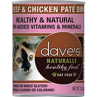 Dave's Pet Food Naturally Healthy Grain-Free Beef & Chicken Dinner Canned Cat Food, 12.5-oz, case of 12