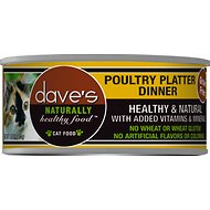 Dave's Pet Food Naturally Healthy Grain-Free Poultry Platter Dinner Canned Cat Food, 5.5-oz, case of 24