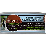 Dave's Pet Food Naturally Healthy Grain-Free Grilled Tuna & Mackerel Dinner in Gravy Canned Cat Food, 5.5-oz, case of 24