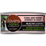 Dave's Pet Food Naturally Healthy Grain-Free Grilled Tuna & Shrimp Dinner in Gravy Canned Cat Food, 5.5-oz, case of 24