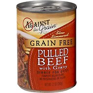 Against the Grain Hand Pulled Beef with Gravy Dinner Canned Dog Food, 12-oz, case of 12