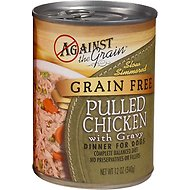 Against the Grain Hand Pulled Chicken with Gravy Dinner Canned Dog Food, 12-oz, case of 12