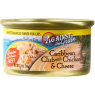 Against the Grain Caribbean Club with Chicken & Cheese Dinner Grain-Free Canned Cat Food, 2.8-oz, case of 24