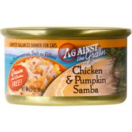 Against the Grain Chicken & Pumpkin Samba Dinner Grain-Free Canned Cat Food, 2.8-oz, case of 24