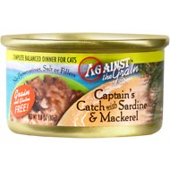 Against the Grain Captain's Catch with Sardine & Mackerel Dinner Grain-Free Canned Cat Food, 2.8-oz, case of 24