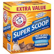 Arm & Hammer Litter Super Scoop Fragrance-Free Clumping Litter, 40-lb box