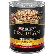 Purina Pro Plan Focus Adult 7+ Beef & Rice Entree Morsels in Gravy Canned Dog Food, 13-oz, case of 12