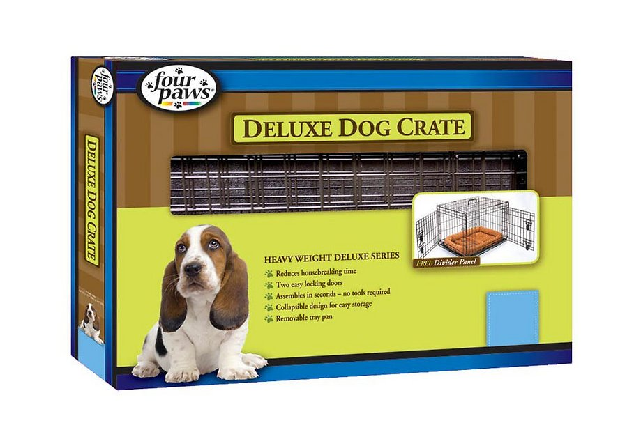 Four paws deluxe double door dog crate medium for Double door with dog door