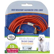 Four Paws Puppy Tie Out Cable, Orange, 15-ft long