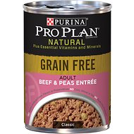 Purina Pro Plan Natural Adult Grain-Free Classic Beef & Peas Entree Canned Dog Food, 13-oz, case of 12