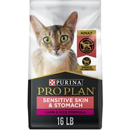 Purina Pro Plan Focus Adult Sensitive Skin & Stomach Lamb & Rice Formula Dry Cat Food, 16-lb bag