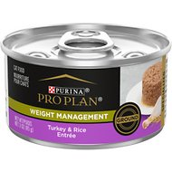 Purina Pro Plan Focus Adult Weight Management Ground Turkey & Rice Entree Canned Cat Food, 3-oz, case of 24