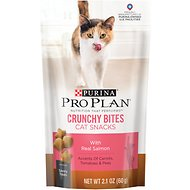 Purina Pro Plan Savor Crunchy Bites with Real Salmon Cat Treats, 2.1-oz bag