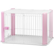 IRIS Pet Wire Dog Crate with Mesh Roof, Pink, Small
