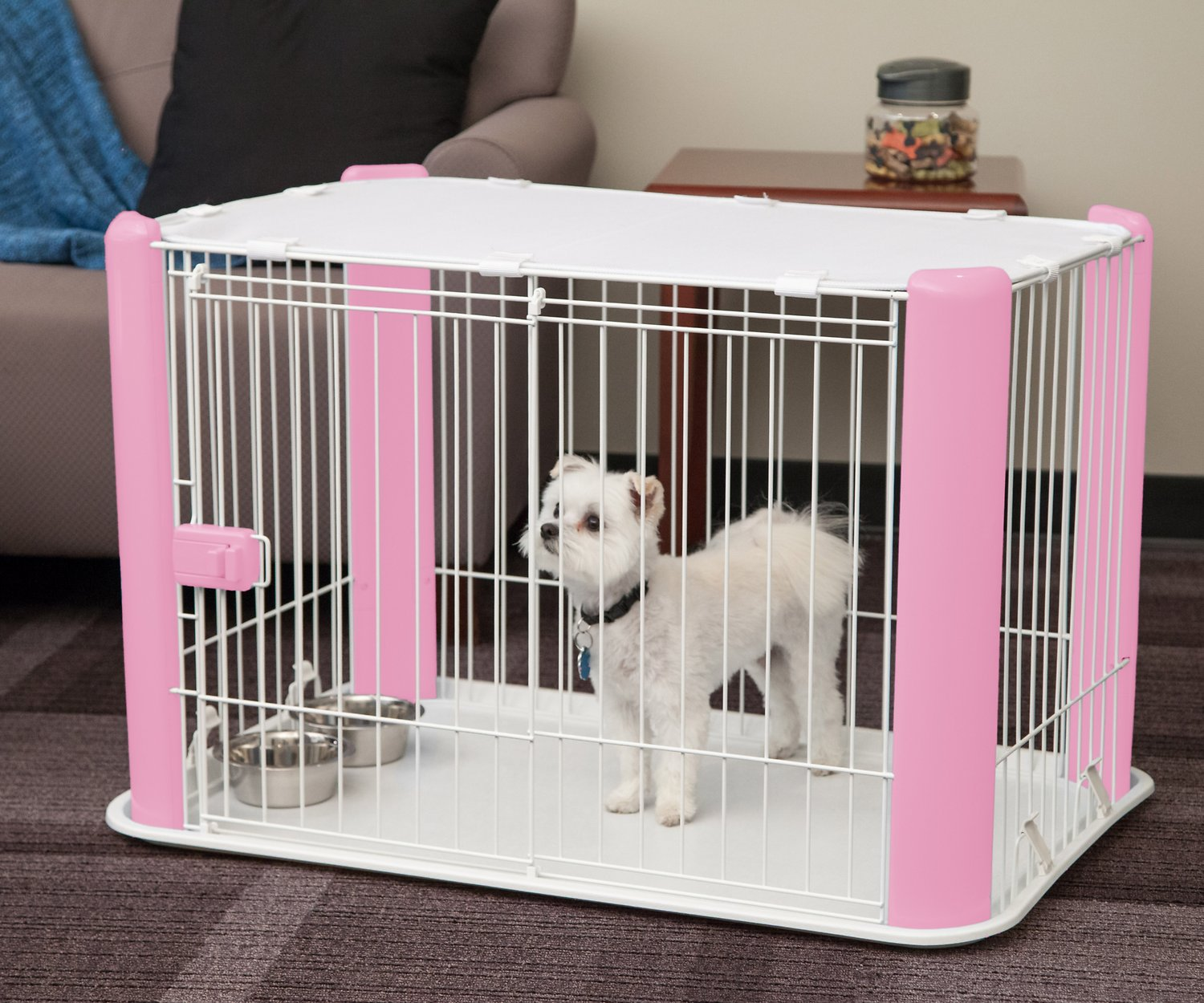 Iris Pet Wire Dog Crate With Mesh Roof Pink Small Chewy