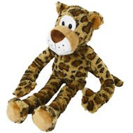 Multipet Swingin' Safari with Extra Long Arms & Legs with Squeakers Plush Dog Toy, Leopard