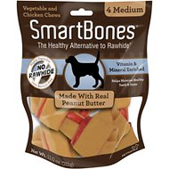 SmartBones Medium Peanut Butter Chew Bones Dog Treats, 4 pack