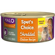 Halo Spot's Choice Grain-Free Shredded Chicken Recipe Canned Cat Food, 5.5-oz, case of 12