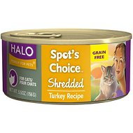 Halo Spot's Choice Grain-Free Shredded Turkey Recipe Canned Cat Food, 5.5-oz, case of 12