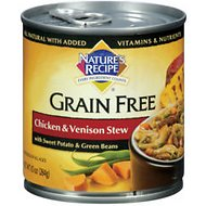 Nature's Recipe Grain-Free Chicken & Venison Stew Canned Dog Food, 10-oz, case of 24