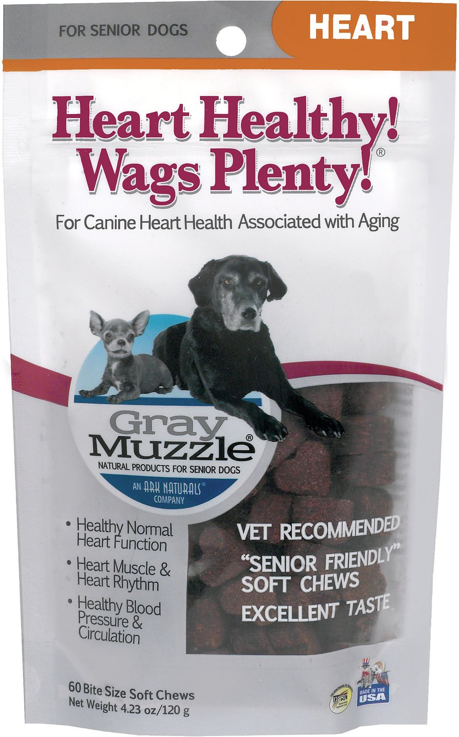 Ark Naturals Gray Muzzle Heart Health Senior Dog Treats, 4 23-oz bag, 60  count
