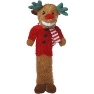 Multipet Christmas Reindeer Loofa Plush Dog Toy, 12-inch