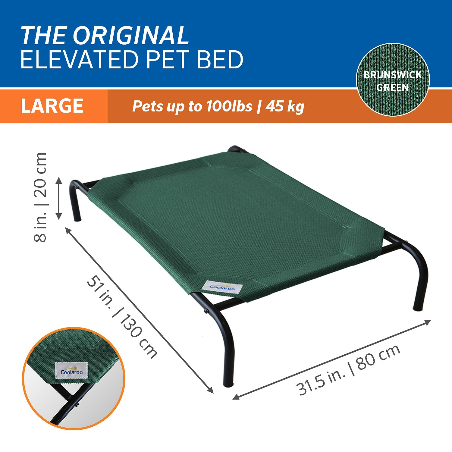 coolaroo steelframed elevated pet bed brunswick green large chewycom