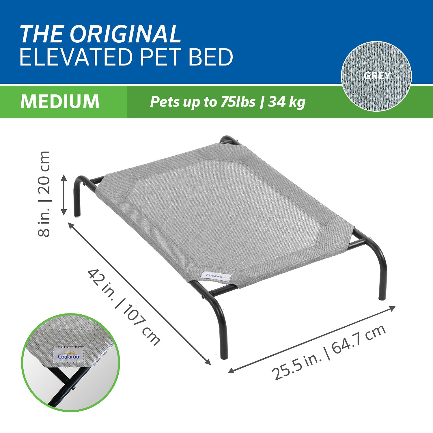 Coolaroo Steel Framed Elevated Pet Bed Grey By Coolaroo