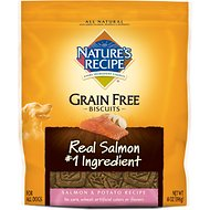 Nature's Recipe Grain-Free Biscuits Salmon & Potato Recipe Dog Treats, 14-oz bag