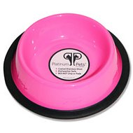 Platinum Pets Stainless Steel Embossed Non-Tip Cat Bowl, Bubblegum Pink