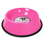 Platinum Pets Stainless Steel Embossed Non-Tip Dog Bowl, Bubblegum Pink, 64-oz