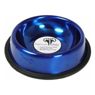 Platinum Pets Stainless Steel Embossed Non-Tip Dog Bowl, Sapphire Blue, 16-oz