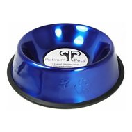 Platinum Pets Stainless Steel Embossed Non-Tip Dog Bowl, Sapphire Blue, 64-oz