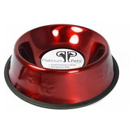 Platinum Pets Stainless Steel Embossed Non-Tip Dog Bowl, Candy Apple Red, 32-oz