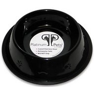 Platinum Pets Stainless Steel Embossed Non-Tip Dog Bowl, Midnight Black, 16-oz