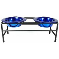 Platinum Pets Modern Double Diner Elevated Wide Rimmed Pet Bowls, Sapphire Blue, X-Small