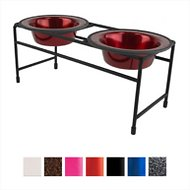 Platinum Pets Modern Double Diner Elevated Wide Rimmed Pet Bowls, Candy Apple Red, X-Small