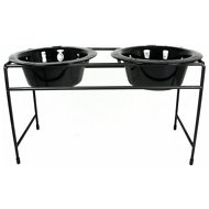Platinum Pets Modern Double Diner Elevated Wide Rimmed Pet Bowls, Midnight Black, Large