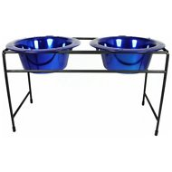 Platinum Pets Modern Double Diner Elevated Wide Rimmed Pet Bowls, Sapphire Blue, Small