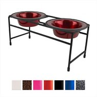 Platinum Pets Modern Double Diner Elevated Wide Rimmed Pet Bowls, Candy Apple Red, Small