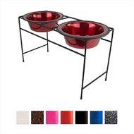 Platinum Pets Modern Double Diner Elevated Wide Rimmed Pet Bowls, Candy Apple Red, Large