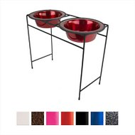 Platinum Pets Modern Double Diner Elevated Wide Rimmed Pet Bowls, Candy Apple Red, X-Large