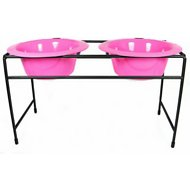 Platinum Pets Modern Double Diner Elevated Wide Rimmed Pet Bowls, Bubblegum Pink, X-Large