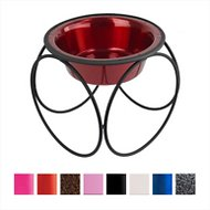 Platinum Pets Olympic Single Elevated Wide Rimmed Pet Bowl, Candy Apple Red, Large